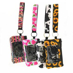 Sunflower ID Card Holder Neoprene Card Pocket Keychain Mini Change Handbag Printed Clutch Coin Wallet Wristlets Party Gifts YFA2058