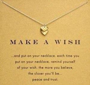 Catena 18 K placcato oro clavicola Bella Wishbone breve Collana pendente pendenti di collane per le donne Girls (senza carta di carta) inYV #