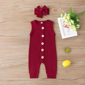 Sleeveless Baby 10 Rompers Colors Solid Infant Single-breasted Jumpsuit Toddler Colors With Newborn Girls Onesies Candy 060718 Headband Ffps