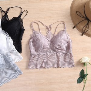 2020 new French advanced fashion sexy back comfortable thin Cup no steel ring camisole lace lace female