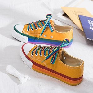 SWYIVY Rainbow White Shoes Woman Canvas Sneakers With Color Lace 2020 Spring New Female Casual Sneakers Platform Shoes White Y200424