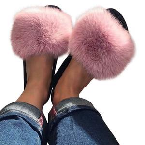 Litthing Женского Лето Тапочки Мода Повседневная обувь для женщин Плюшевых сандалий Лоскутной Multicolor пера Плюс Размер Плоских Слайдов