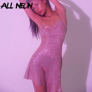 ALLNeon Glitter Dresses for Women Straped Criss-Cross Bandage Backless Mermaid Dresses Club Wear Evening Party Sequins Dresses T200710