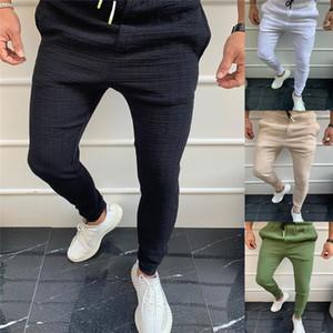 Mens Solid Color Pencil Pants Casual Drawstring Elastic Waist Slim Long Trousers Pants New Homme Pantalon