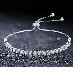 Tennis Adjustable Charm Bracelets Bangles Cubic Zirconia Silver Color For Woman Jewelry Gift
