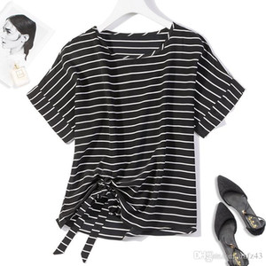 Women's 100% Pure Silk Top Shirt Blouse Round Neck short sleeves tied bottom black stripes one size JN208