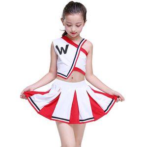 Kız amigo Üniformalar Çocuk Cheer Takım Suits Kız Boy Kalistenik Suit Öğrenci Yarışması takım üniforma Cheerleading