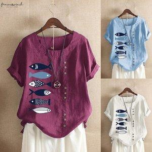 Feitong Women Blouse Floral Casual Plus Size O Neck Printed Loose Button Tunic Shirt Tops Cardigan Blusas Elegantes De Mujer 2020