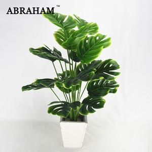 50 centímetros 18fork Grande Artificial planta de plástico Turtle folhas da árvore Falso Monstera planta verde ramo Tropical para Bonsai Decor Interior