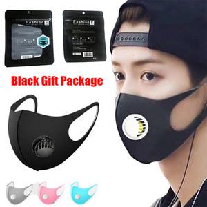 Mund Ice Waschbar Gesichtsmaske mit Ventil PM2.5 Atem Schwarz Geschenkpaket Anti Staubmaske Staubdichtes Antibakteriell Wiederverwendbare Silk