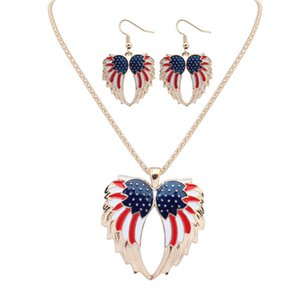Designer Necklace and Earrings of Jewelry Set Oil Drop Wings Necklace Earrings Two-piece for Women XL004