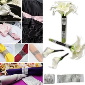 Wholesale- 100pcs Pack Gold Silver 8Rows Diamond Mesh Rhinestone Bow Covers Holders Wedding Napkin Rings DIY Decorations Table Decor Craft