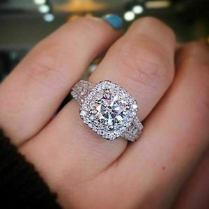 AprilGrass Classic Luxury Wedding Rings for Women High Quality Micro Paved CZ Zircon Stone Carefully Orchestrated Bridal Jewelry Hot Fashion