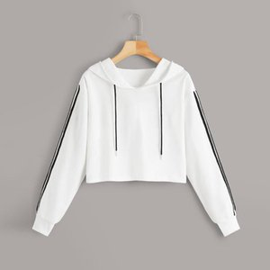 Hoodies Sweatshirts Women Girls Casual Stripe Long Sleeve Splice Pullover Hooded Sweatshirt Short Tops Blouse For Female