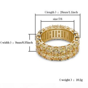 E Men &#039 ;S 2 Row Gold Cz Bling 360 Eternity Rings Micro Pave Cubic Zirconia Gold Plating High Quality Double Row Simulated Diamonds