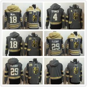 2018 männer sweatshirt las vegas golden ritter 29 marc-andre fleury 18 james neal leer grau gelbe hockey hoodie top qualität