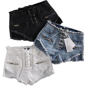 Kadın Seksi Yaz Yüksek Waisted Püskül Elastik Dantel Yukarı Bandaj Şort Sıcak Pantolon Denim Kısa Pantolon Kısa Ripped Jeans Denim
