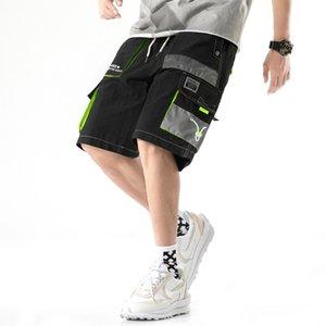 Men Streetwear Hip Hop Sweatshorts 2020 Summer New Shorts Ribbons Block Pockets Korean Fashion Joggers Short Pants Cargo Shorts