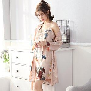 4xMfO 2019 Sıcak Ev giysiler pijamalar Yeni Kadın ipek gibi pijama high-end askı gecelik iki parçalı set gecelik düz renk sıcak hom