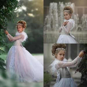 2020 Lovely Flower Girls Dresses Lace Rhinestone Long Sleeves Flowers Kids Formal Wear Custom Made Birthday Toddler Girls Pageant Gowns