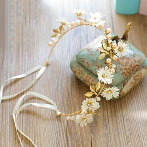 Women White Red Daisy Gold Leaf Headband Flower Ribbon Wreath Floral Bridal Hairband Garlands Tiaras Wedding Hair Accessories VL