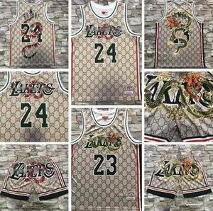 Männer Basketball LosAngelesLakers24Bryant23 James New Übertragung Mitchell & Ness Nostalgia Company Schlange und Drache Jersey-Hosen