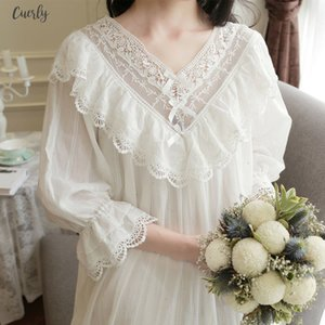 Vintage Womens Gothic Victorian Night Dress White Cotton Flare Sleeve V Neck Lace Embellished Ruffle Hem Autumn Nightgown T29