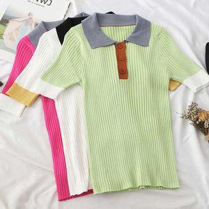 Summer new short-sleeved patchwork sweater t-shirt women vintage knit tshirt 2020