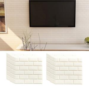 20Pcs 3D Brick Self Adhesive Wallpaper DIY PE Foam Soundproofing Stickers for Kitchen Living Room Bedroom Background Home Decor 32cm x 32cm