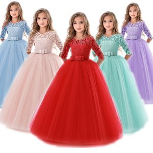 6 to14 Years Baby Girls Dress Flower Long Lace Frocks Elegant Children Christmas Prom Gowns Dresses Girl Party Kids Evening Wear