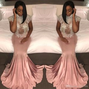 2021 High Neck Pink Vintage Mermaid Long Black 2K17 Occasion Dress Appliques Beaded Short Sleeve Formal Evening Gowns Plus Size Prom Dresses