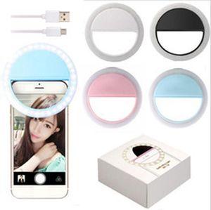 Selfie Annulaire USB Charge selfie Portable flash LED Camera Phone Photographie lampe Bague Amélioration Photographie pour Smartphone