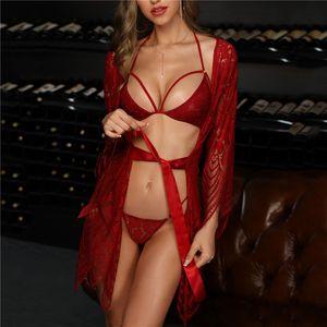 Ins Sıcak Mesh Seksi 3 parçalı İç Bayan Moda Dantel Gecelik Tide 3 Renkler Mesh Dantel Pijama Moda Ev Bornoz