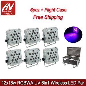 6PCS اللاسلكية DJ uplighting 12x18W 6in1 بطارية تعمل ضوء مصباح بعد أضواء أدى بطارية تحكم واي فاي دي جي DJ uplight يمكن من ligh الاسمية