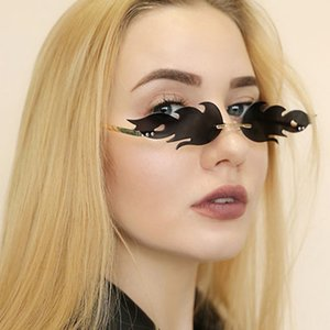 Frameless Flame Sunglasses Metal 2020 New Prom Trendy Sunglasses Small Frame Personalized Narrow Side Sunglasses Free Shipping