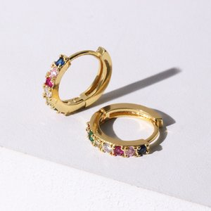 Trendy Gold Color Round Hoop Earrings Jewelry for Women Rainbow CZ Charm Small Huggie Earrings Wedding Party Gifts