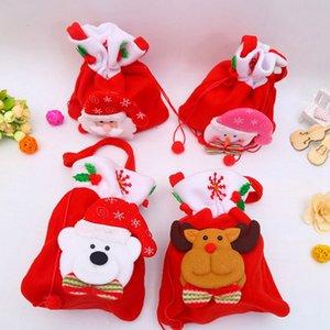1PCS Christmas Kids Candy Bags Pouch Cotton Santa Claus Snowmen Xmas Gift Bag Children Bag Drawstring Container Organizer Case