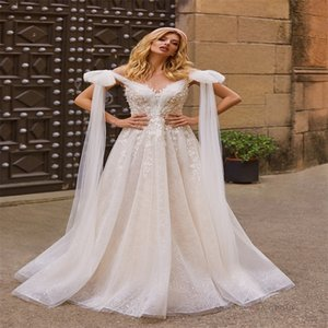 2020 Beach Wedding Dresses With Bow Sexy Jewel-neck Sequins Appliqued Lace Bridal Gown Sleeveless Sweep Train Custom Made Bridal Dress