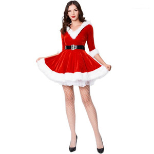 Designer Theme Costume Dresses With Belt Christmas Womens Dresses Big Swing Red And Green Hooded V Neck Womens