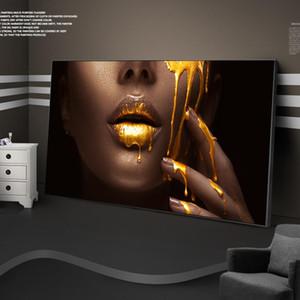 Grande African Woman Face Canvas Art Poster e labbra Stampe d'Oro sexy tela dipinti sul arte della parete per il salone