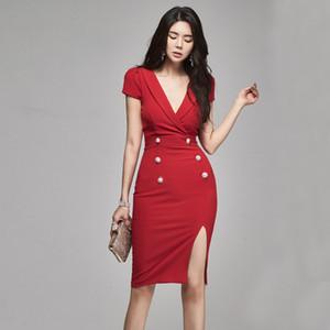 Women's Dress Short Sleeve V-neck Sexy Business Dress Summer Bodycon Dress Fashion Slim Ladies Dresses