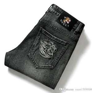 Men's jeans 100% cotton straight stretch embroidered men's trousers vintage trousers men