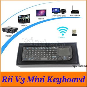 Portable Ultra-thin RII v3 Bluetooth 2.0 Mini Keyboard 2.4G Wireless Laser Pointer With Mouse TouchPad For PC Smart TV Box Cheap Free DHL 30