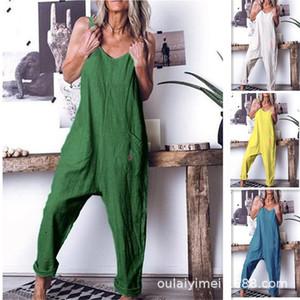 Дизайнер Женщины Rompers лето рукава карандаш штаны блудница Комбинезоны вскользь сплошной цвет дышащих женские Rompers