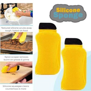 3 In 1 Silicone Cleaning Brush Sponge Hero Magic Dish Washing Brush Multipurpose Kitchen Eco-Friendly Cleaning Scrubber