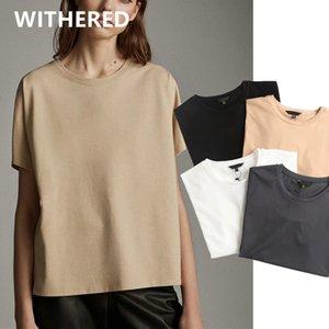Davedi enlgand sólidos verano de las mujeres de la camiseta de algodón simples básicos señora de la oficina de estilo harajuku camiseta Camisetas Verano MUJER 2020