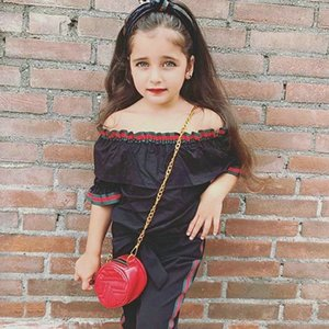 Toddler Baby Girls Clothes Off Shoulder Tops Shirt Pants Kids Clothes Outfits Infant Clothing 0-6Years