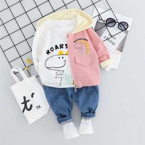 WENWENDEXINGFU ropa del niño infantil Conjuntos de otoño bebés de juegos de la ropa camisa pantalones de dibujos animados con capucha abrigos T traje Niño