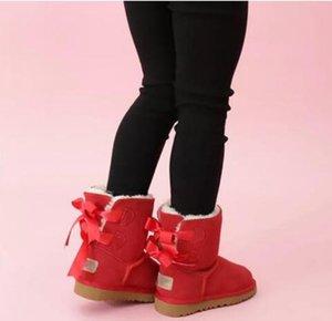 HOT Designer Kids Boots WGG Australian Snow Winter Boots Bailey Bow Children Girl Boy Triple Black Pink Khaki Ankle Booties 26-35 UN12