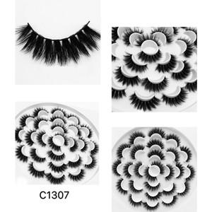 Reusable handmade 13 pairs mink fake lashes set natural long thick false eyelashes extensions soft & vivid lashes mink 9 models DHL Free